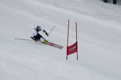 Skier in Giant Slalom Test Stock Images