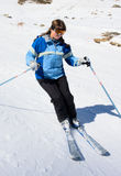 Skier girl. On snow slope royalty free stock images