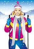 Skier girl. Winter sport girl in mountains Stock Photography