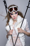 Skier girl. With bright makeup stock image