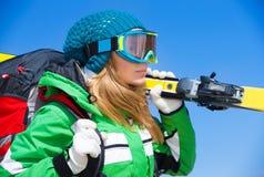 Skier girl portrait Royalty Free Stock Photo