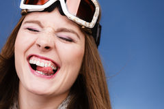 Skier girl wearing warm clothes ski googles portrait. Woman skier girl wearing warm clothing ski googles portrait. Winter sport activity. Beautiful funny royalty free stock images
