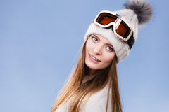 Skier girl wearing warm clothes ski googles portrait. Stock Photography