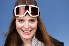 Skier girl wearing warm clothes ski googles portrait. Woman skier girl wearing warm clothing ski googles portrait. Winter sport activity. Beautiful sportswoman stock photos