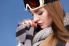 Skier girl wearing warm clothes ski googles portrait. Woman skier girl wearing warm clothing ski googles portrait. Winter sport activity. Beautiful sportswoman royalty free stock photos
