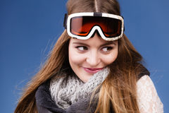 Skier girl wearing warm clothes ski googles portrait. Woman skier girl wearing warm clothing ski googles portrait. Winter sport activity. Beautiful sportswoman stock images