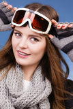 Skier girl wearing warm clothes ski googles portrait. Woman skier girl wearing warm clothing ski googles portrait. Winter sport activity. Beautiful sportswoman stock image