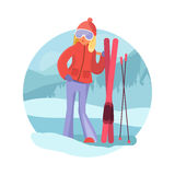 Skier girl winter sports concept. Girl with skis on natural background. Young girl skiing flat style vector. Cute blonde girl in ski goggles Stock Photography