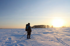 The skier going at sunset Stock Photography
