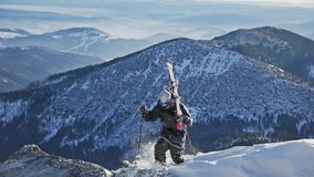 Skier Going Uphill Winter Slowmotion stock footage