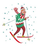 Skier. Hand-drawn watercolor illustration on white background Stock Photography