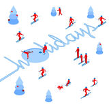 Skier has left a trace in the form of word `Holidays`. With lot of people skiing around. Athlete write letters on the snow - vector image clip art. Isometric Royalty Free Stock Photos