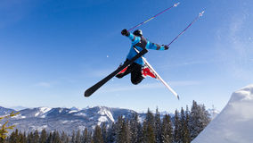 Skier in a high jump Stock Photos