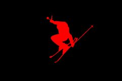 Skier on high jump RED ON BLACK Stock Photo
