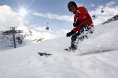 Skier in high mountains Stock Photography