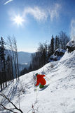 Skier in high mountains. Skier  skiing in fresh snow  against sun Royalty Free Stock Image