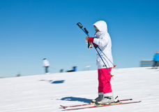 Skier in high mountains - alpine Stock Photos