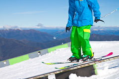 Skier in high mountains - alpine Royalty Free Stock Image