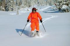 Skier in high mountains Stock Photos