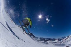 Skier in high mountains. Royalty Free Stock Photography