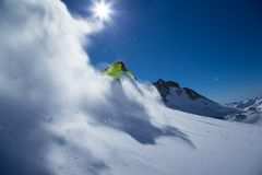 Skier in high mountains. Royalty Free Stock Images