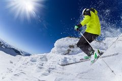 Skier in high mountains Royalty Free Stock Photography