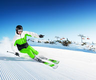 Skier in high mountains stock photos
