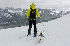 Skier and his dog taking a minute to admire the view royalty free stock photo