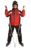Skier hold skies Royalty Free Stock Photos