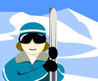Skier Holding Skies. Skier in sunglasses holding a pair of skis vector illustration