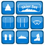 Skier icons set with equipment Royalty Free Stock Photography