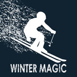 Skier illustration-Winter Magic Royalty Free Stock Photo