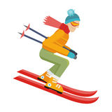 Skier Isolated . Person Skiing. Vector Royalty Free Stock Photography