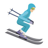Skier Isolated on White. Person Skiing. Vector Royalty Free Stock Photography