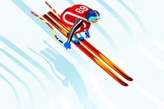 Skier Jump 3D Vector Illustration Stock Photos