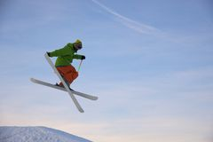 Skier is jumping Royalty Free Stock Photography