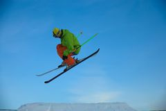 Skier is jumping Stock Photos
