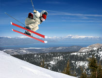 Skier jumping royalty free stock photography