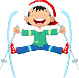 Skier jumping cartoon Royalty Free Stock Photo