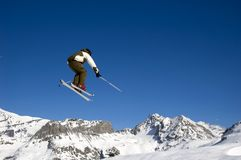 Skier jumping high in the air Stock Image