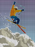 Skier jumping with mountain composed of pixels Royalty Free Stock Photo