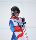 Skier Lara Gut. Lara Gut on FIS Alpine Ski World Cup 2011/2012 in February 18, 2012 Russia, Sochi, Rosa Khutor royalty free stock images
