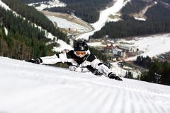 Skier on the mountain Royalty Free Stock Photography