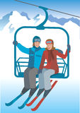 Skier  on the lift. Stock Photo