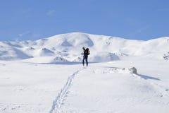 Skier looking back Stock Image