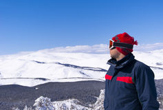 Skier is looking on the mountain. The skier is looking on the mountain landscape. Sarikamis. East Anatolia. Turkey Stock Images