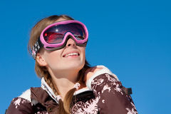 Skier looking up and smiling Royalty Free Stock Photo
