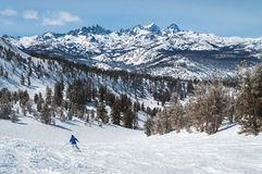 Skier on Mammoth Mountain enjoys great views Royalty Free Stock Photos