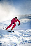 Skier man down. The snowy slope Stock Photos