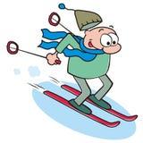 Skier. Man goes on skis, amusing illustration Stock Image